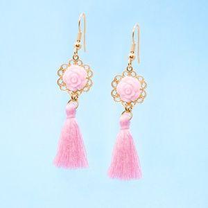Handmade Floral Boho Tassel Earrings